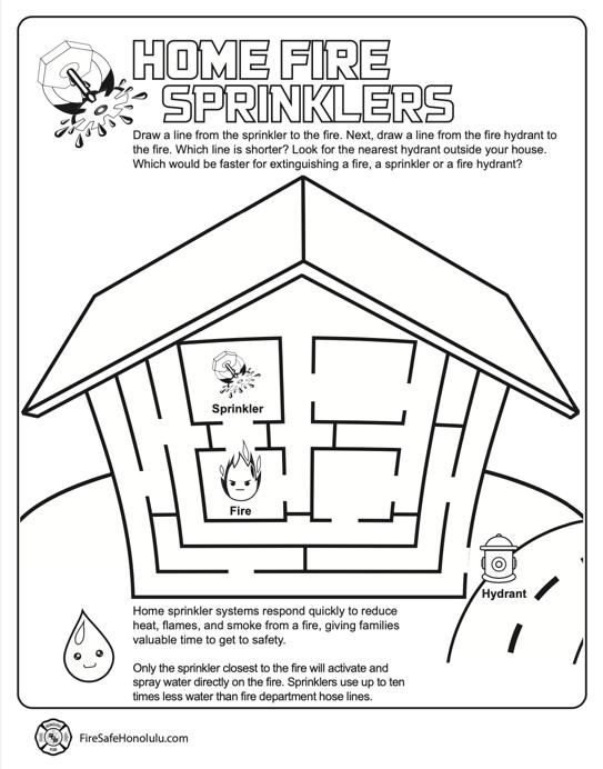 Home Fire Sprinklers worksheet